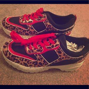 Leopard print sneakers.. brand new!!